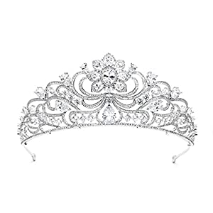 SEPBRIDALS S16419 Diadem mit Cubic Zirkonia, Königliche Hochzeit, Braut, Diadem für Frauen und Mädchen