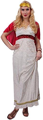 ß-rot für Damen, Größe 44-46 | Römerin-Verkleidung, Toga & Lorbeerkranz für Fasching | Erwachsenenkostüm als römische Königin oder Göttin | Römer-Outfit für Motto-Partys & Karneval (Rote Und Weiße Königin Kostüme)