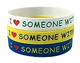 Max Petals Silikon Armbänder I Love Someone with Autism. Farbe: Blau, Gelb, weiß Größe für Erwachsene (3 Stück)