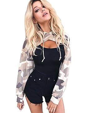 Vovotrade Las mujeres de moda ahuecan a lo largo de las tapas Imprimir corto de la camiseta Camuflaje con capucha...