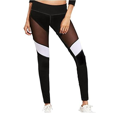 Femmes Leggings,OverDose Taille Haute Yoga Pants Fitness Solide Leggings Running Gym Stretch Trousers (XL, Noir)