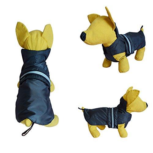 Balock Schuhe Wasserdichte Haustierkleidung,Haustier Hund im Freien Wasserdichte Regenmantel Weste Jacken Kostüm,Haustier Warmer Winter Kleidung Wasserdichter Hundemantel für Kleinen Hund (Blau, M)
