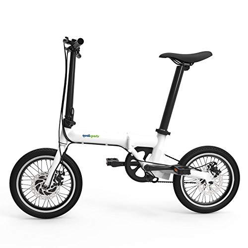 """Hold E-Bikes Klapprad, 16\""""Gepäckträger und Schutzbleche, 32lb Leichtes Aluminiumrahmen-Klapprad, 6-Gang tragbares Mini-Klapprad@Weiß"""