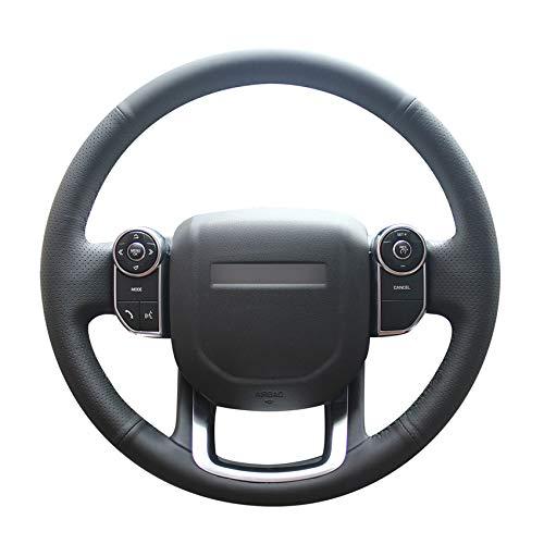 Preisvergleich Produktbild PSTPPZ Handgenähtes DIY-schwarzes PU-Kunstleder-Auto-Lenkradbezug,  für Land Range Rover 2014 2015