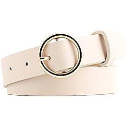 Kentop cinturón de piel cinto para jeans cinturón mujer con hebilla  redondeada 9444789e5cba