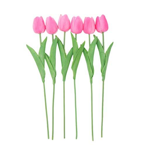 Amosfun 6 stücke PU künstliche tulpe blume hochzeit gefälschte blumensträuße blumen für hochzeit zu hause herzstück dekoration (rosa)