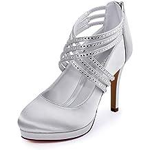 a e Scarpe alto con diamanti raso chiusa incrociate tacco con fasce in punta WIH29ED