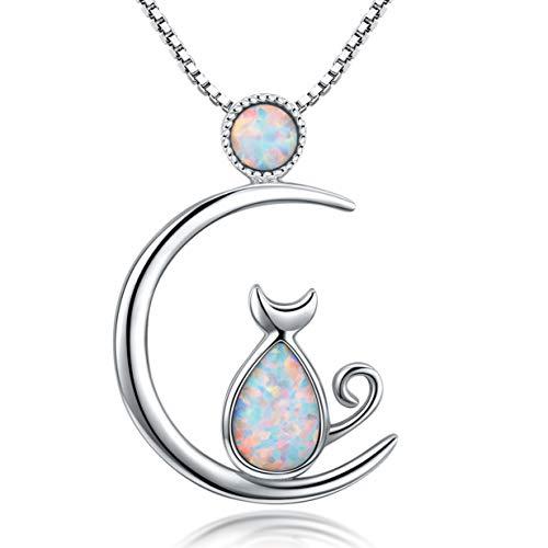 Damen Katze Kette 925 Sterling Silber Mond Katze Anhänger Halskette Schmuck Geschenk für Damen Synthetik Opal Katze Kette für Mädchen