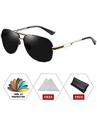 ATNKE Retro Aviator Polarized lunettes de soleil pour hommes Femmes  Oversized UV400 Protection avec cadre en métal creux Temple Reflective Lens… d0d32799366d