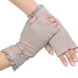 Aardvark Art Damen Baumwolle Kurze Fingerlos Driving Handschuhe Sommer UV-Schutz Sonnen Handschuhe (Rosa)