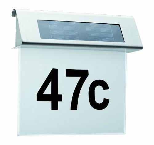 Paulmann Leuchten 93765 Special - Panel solar luminoso para el número de la calle (LED de 0,2 W, IP44, acrílico y acero inoxidable), color blanco