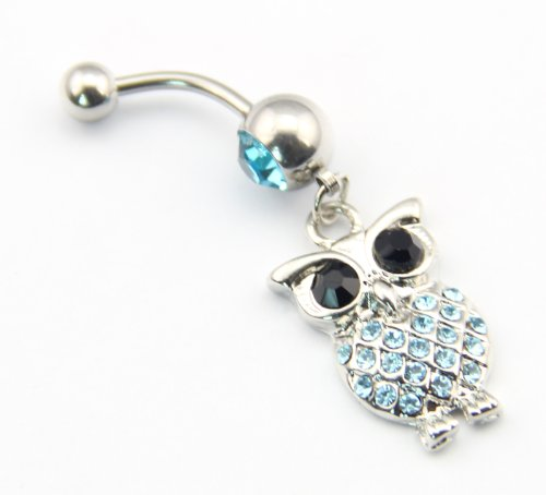 BODYA 316l Edelstahl 14g Blaue Kristall Retro Eule baumeln Nabel Ring Bauch Barbell Piercing Kit