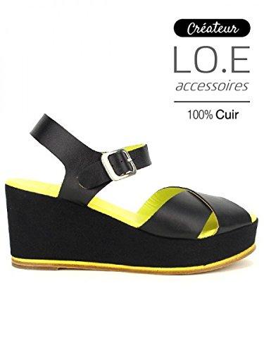 Cendriyon, Compensée Veau Cuir Noir COTON Chaussures Femme Noir