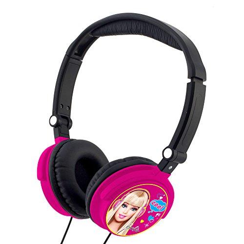 Lexibook Junior On-Ear Leicht Kopfhörer mit Barbie Design Faltbar mit 3,5mm Audiokabel für Apple und Android Geräten - Pink