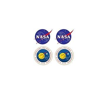4 Aufkleber Nasa Meatball & Seal Logo Emblem Frikadelle Aufkleber Sticker + Gratis Schlüsselringanhänger aus Kokosnuss-Schale + Auto Motorrad Laptop Racing Space Space-shuttle Apollo Mond Star Wars