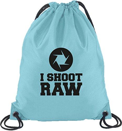 I SHOOT RAW, Kamera Camera Turnbeutel Rucksack Sport Beutel Hellblau