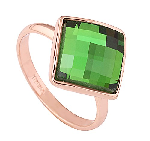 Acefeel 18k Gold Plated Green Crystal Rhombus Square Mosaics Cut Fashion Cocktail Ring Gift R203 Size 6.5