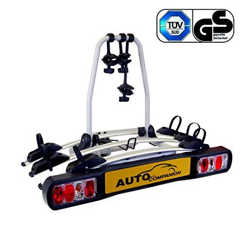Auto Companion - Piattaforma portabici posteriore, per 3 biciclette, da fissare al giunto sferico di traino