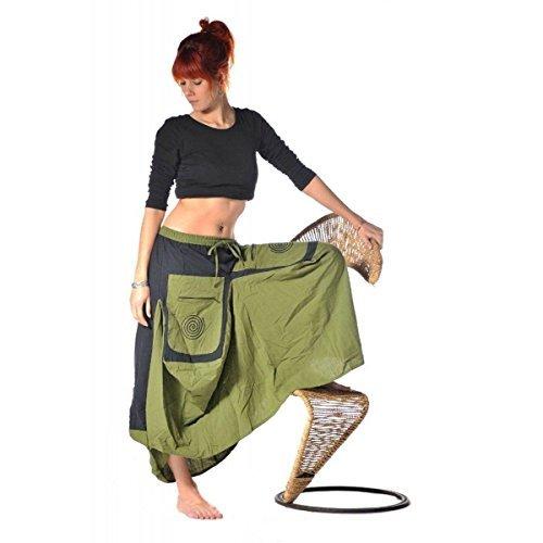 Rock Mittelalter Maxirock Hippie Goa Psy Strandrock Sommerrock Unterrock Gummizug Freizeit Jupe Color Grün, Size L/XL