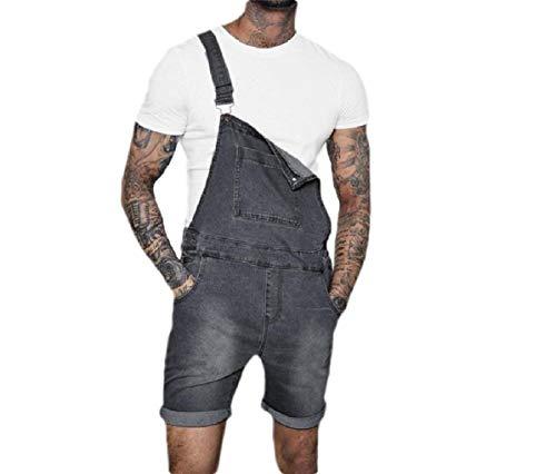 Denim Zip-fly-bib Overalls (CuteRose Men's Shorts High Back Slimming Denim Jeans Zip Fly Bib Overall Grey S)
