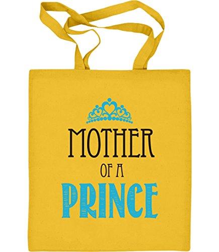 Mother of a Prince - Geschenkidee für Muttertag Jutebeutel Baumwolltasche One Size Gelb (Gelben Text T-shirt)