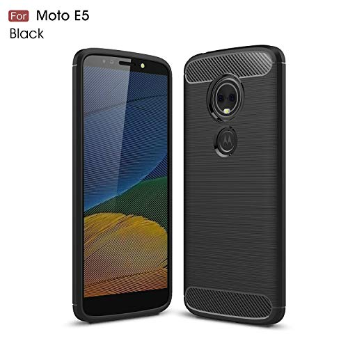 Motorola Moto E5 Hülle (XT1920DL) YMH strapazierfähige Panzerfolie und stoßdämpfende TPU-Hülle, für Moto E5 (Tracfone, Simple Mobile, Straight Talk, Total Wireless), schwarz