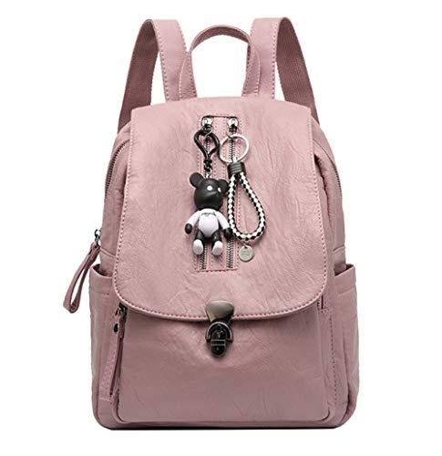 FLHT Leder Rucksack Frau Mädchen Damen Schultertasche Reisetasche Buch Schultasche Wasserdicht Rucksack Für Mädchen Für Die Schule, Pink-OneSize