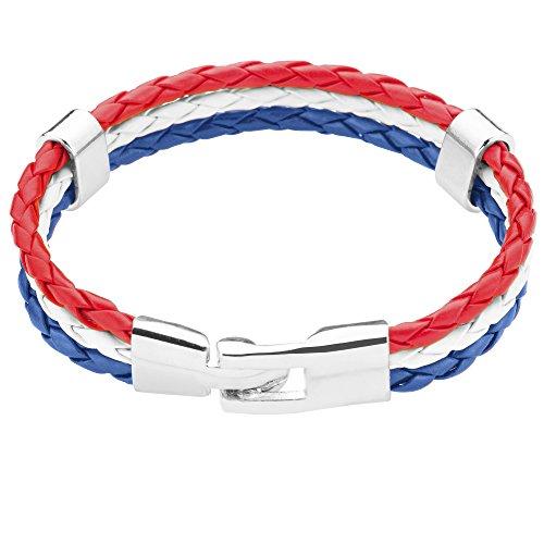 Taffstyle® Stylisches Armband PU Lederarmband Kordelarmband Fanartikel Fussball Weltmeisterschaft WM & EM Europameisterschaft 2016 Länder Style geflochten - Niederlande - 19cm