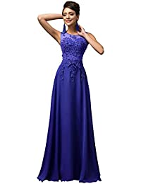 Lange Damen Abendkleider Ballkleider Partykleider Ärmellos Chiffon Kleid für Hochzeit Brautjungfer- Gr. 40, Cl7555-6