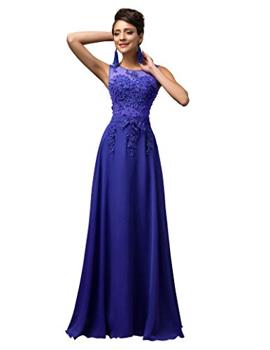 Damen Blau Abendmode Geburtstagsparty Partykleider Gr.40 CL007555-6