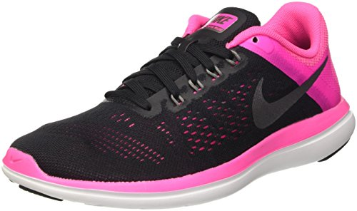Nike Flex 2016 Run, Scarpe Running Donna, Nero (Black/Metallic Cool Grey/Pink Blast/White), 40 EU