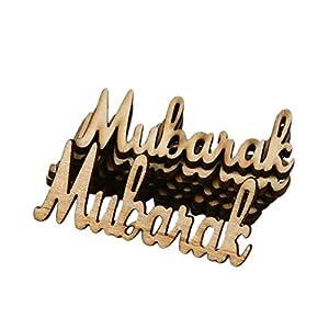 Luminiu Hölzernes Eid Mubarak Englisch Alphabet aus Holz Eid al-Fitr Partei liefert DIY Plakette Anhänger Hauptdekorationen 15 Stück