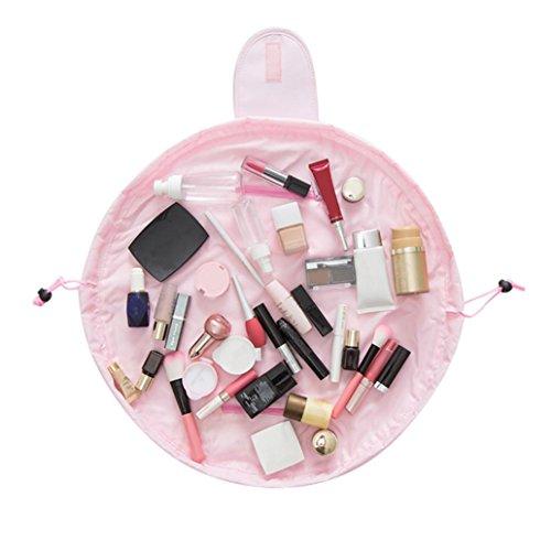 Trousses à maquillage Sansee Portable Beauté Cordon De Serrage Voyage Maquillage Organisateur Stockage Bijoux Cosmétiques Sac Cosmétique (Rose)