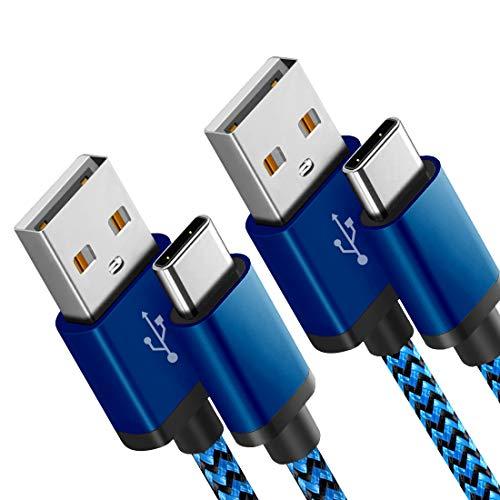 Fundro Für Samsung Galaxy S8 USB C Kabel, [2-Pack] Nylon USB Type C Kabel für Samsung Galaxy S9 Plus/Note 8 / Note 9, Huawei Mate 20 / P20 / P20 Lite, LG G6, Xiaomi 8 und mehr (2Pack 1.8m, Blau)
