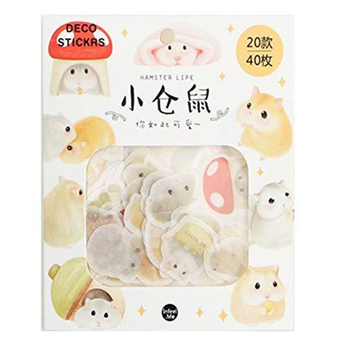 Luo-401XX 40 Stücke Scrapbooking Aufkleber, Cartoon Hamster Hund Kaninchen Katze Muster Klebstoff Dekorative DIY Hand Konto Aufkleber Für Notebook, Journal, Kartenherstellung, Buchstaben Hamster ^ -
