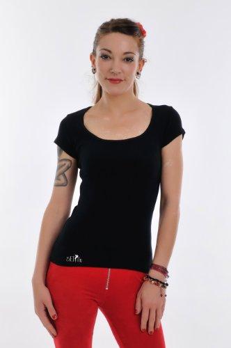 Chemise Col rond noir femme Manches courtes / T-Shirt imprime élément jour de 3Elfen, Ladies Fashion Blanc