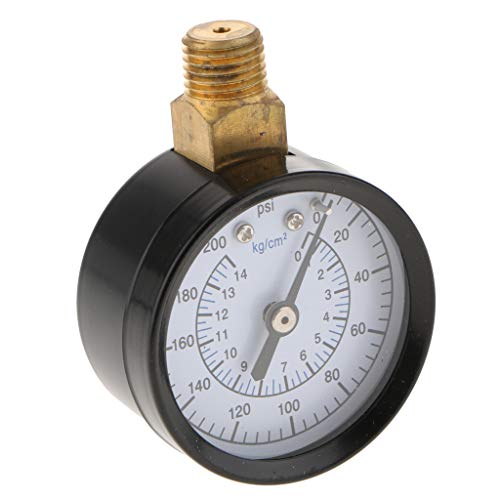 """Homyl Niederdruck Hydraulische Manometer Scale 1/4\"""" NPT Gewinde für Kraftstoff Luftkompressor Öl Wasser Gas - Schwarz ts-50-200psi"""