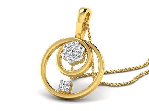 Or Jaune 9 ct Pendentifs Diamant en forme de rond, 0.14 Ct Diamant, GH-SI, 0.85 grammes.
