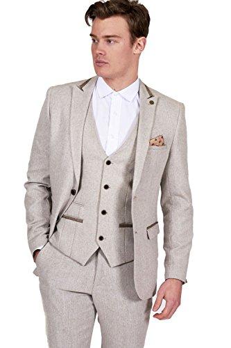 Mens 3 Piece Marc Darcy Cream Tweed Inspired Casual Business Wedding ...