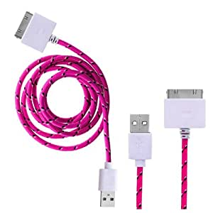 Wayzon Quality Hot Pink Strong Nylon Braided Unbrakable High Speed Sync USB Data 30 Pin Cable Lead Charger Suitable For Apple iPhone 2 2G 2GS / 3 3G 3GS / 4 4G / 4S / iPod Touch 2nd 3rd 4th Generation / iPad 1 / 2nd Gen / iPad 3rd Gen