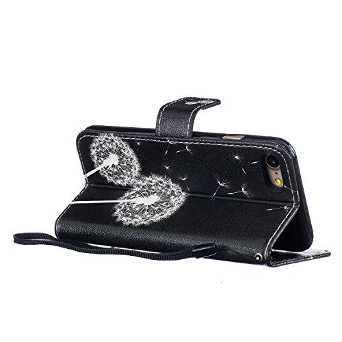 EUWLY Case Cover per iPhone 7/iPhone 8 (4.7) Custodia Portafoglio PU Pelle Bling Diamante Sparkling Brillante Scintillante Gitter Strass Protettiva Portafoglio Cover Custodia Ultra Sottile Flip Libro Dente di leone