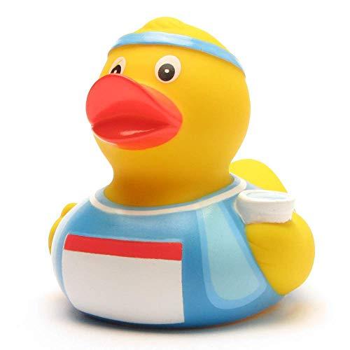 Badeente Marathon-Läufer I Quietscheente I Duckshop I L: 8 cm inkl. Badeenten-Schlüsselanhänger im Set (Gummi-ente Baby-buch)