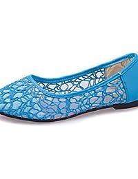 ZQ Mujer-Tac¨®n Plano-Confort / Punta RedondaExterior / Casual-Semicuero-Negro / Azul / Rojo / Blanco , blue-us6.5-7 / eu37 / uk4.5-5 / cn37 , blue-us6.5-7 / eu37 / uk4.5-5 / cn37