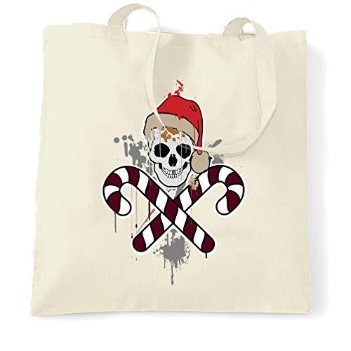 Tim And Ted Spooky Weihnachten Tragetasche Schädel-und Kreuz Candy Canes Natural One Size