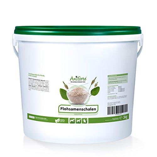 AniForte Flohsamenschalen Ganz 3 kg für Pferde, Hunde und Katzen, Reich an Ballaststoffen und Schleimstoffen, Indische Rohkost Qualität, Sparpack