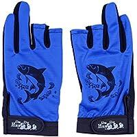 JxucTo Guantes de Pesca Antideslizante 3 Dedos Guantes de Corte Caza de Ciclismo Guantes de Medio Dedo Manopla de protección UV de Verano para Hombres