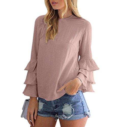 Blusen Elegant Chiffon, ziyou Damen Lange Ärmel T-Shirt Hemd/Oberteile mit Bowknot (Rosa-A, L) (Rundhalsausschnitt Tagless T-shirt)