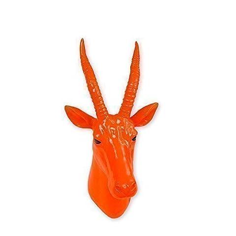 Walplus 20.5 x 18.5 x 13.5 cm Antelope Animal Coat Hook Wall Hanger Art Decals Home Decoration Living Bedroom Office Décor DIY, Amber