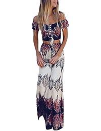 c6acb2237a4f Longra Damen Boho Sommerkleider Strandkleider im Ethno-Style Frauen  Schulterfrei Bluse Shirt Tops Weste und Maxiröcke Damen Elegant…