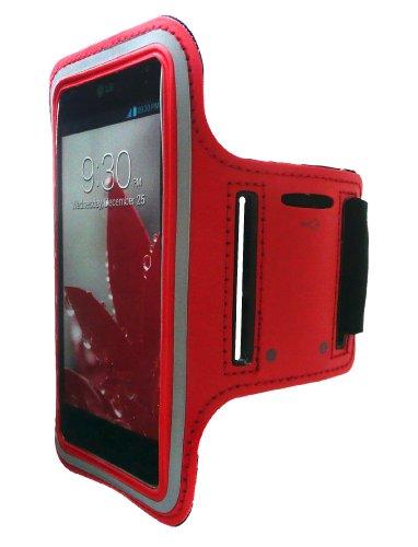 Emartbuy® Stoßfest Rot Reflective Sport Gym Jogging Armband Velvet Finish ( Größe 4 ) mit Klettverschluss Geeignet für LG Optimus G E975